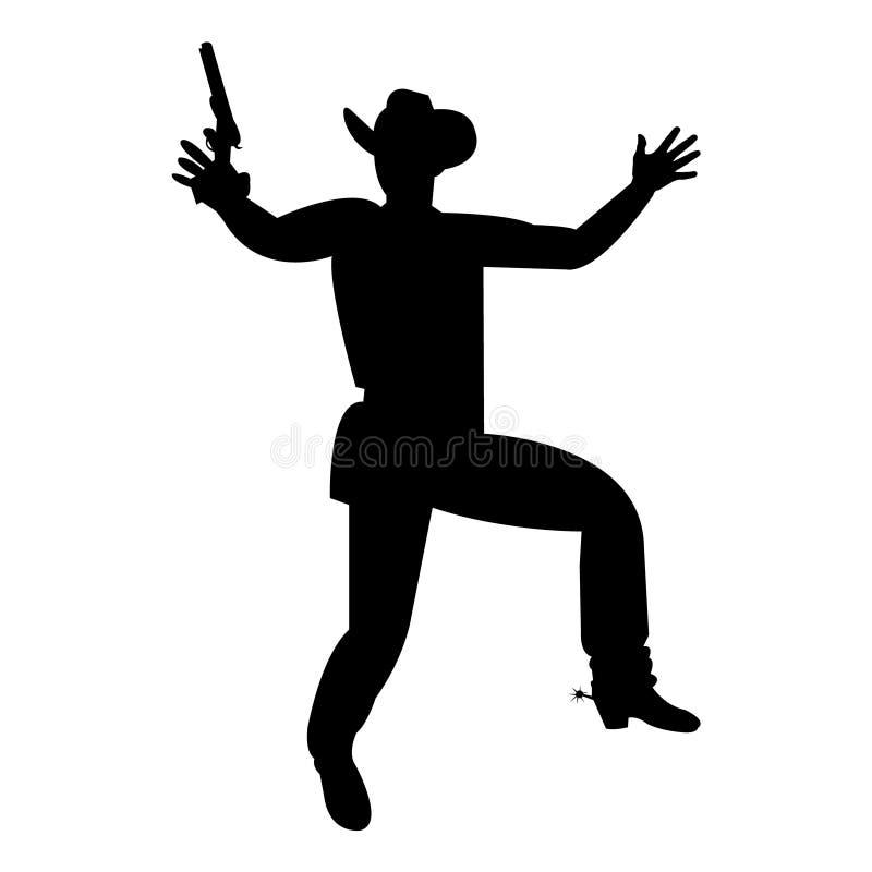 Cowboy som siktar med ett vapen stock illustrationer