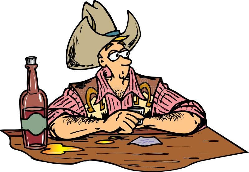 Cowboy am Stab lizenzfreie abbildung