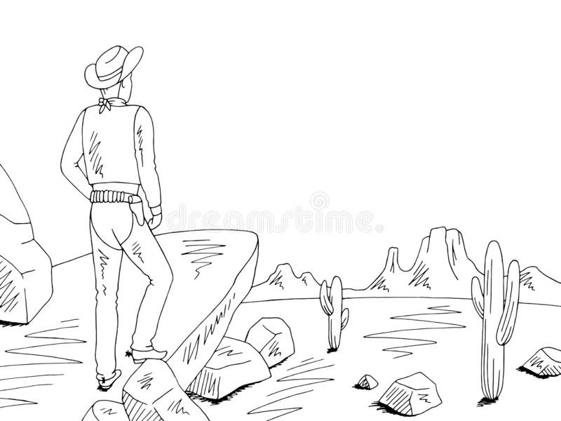 Cowboy standing on a rock and looking at the prairie graphic black white desert landscape sketch illustration vector. Cowboy standing on a rock and looking at royalty free illustration