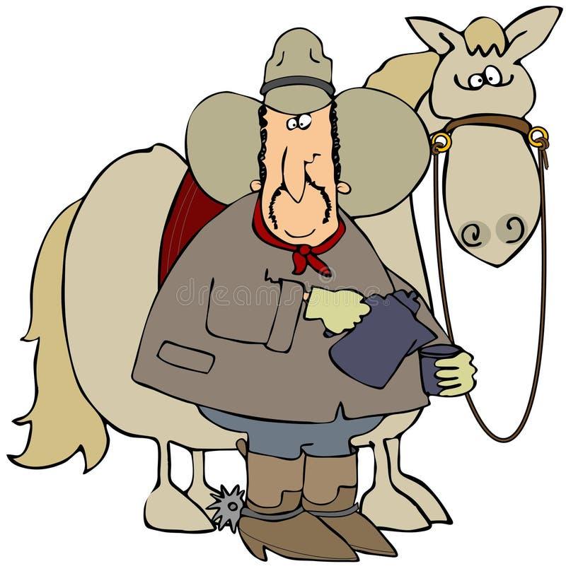 Cowboy Startled & seu cavalo ilustração do vetor