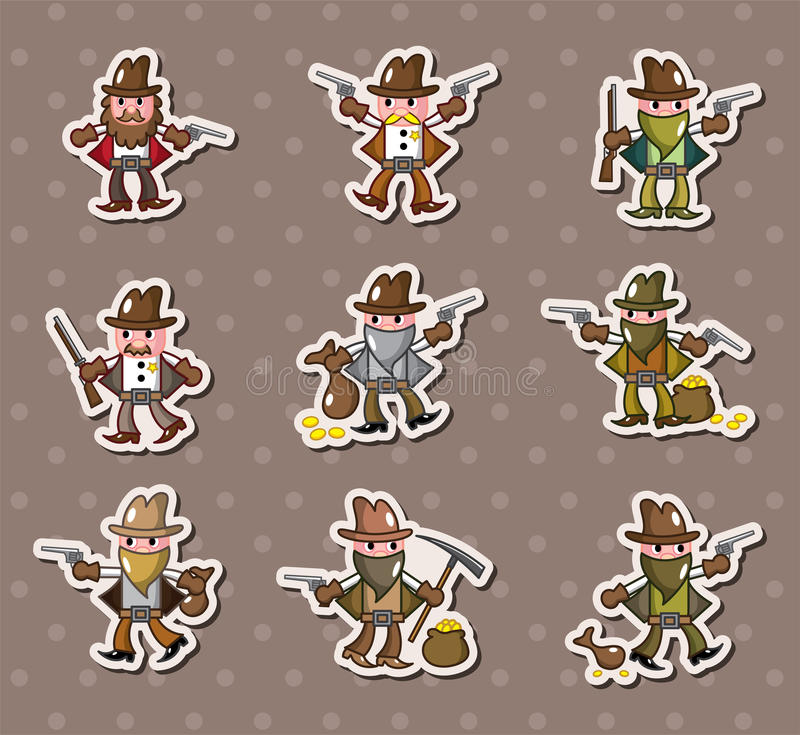 Download Cowboy stickers stock vector. Illustration of design - 25511254