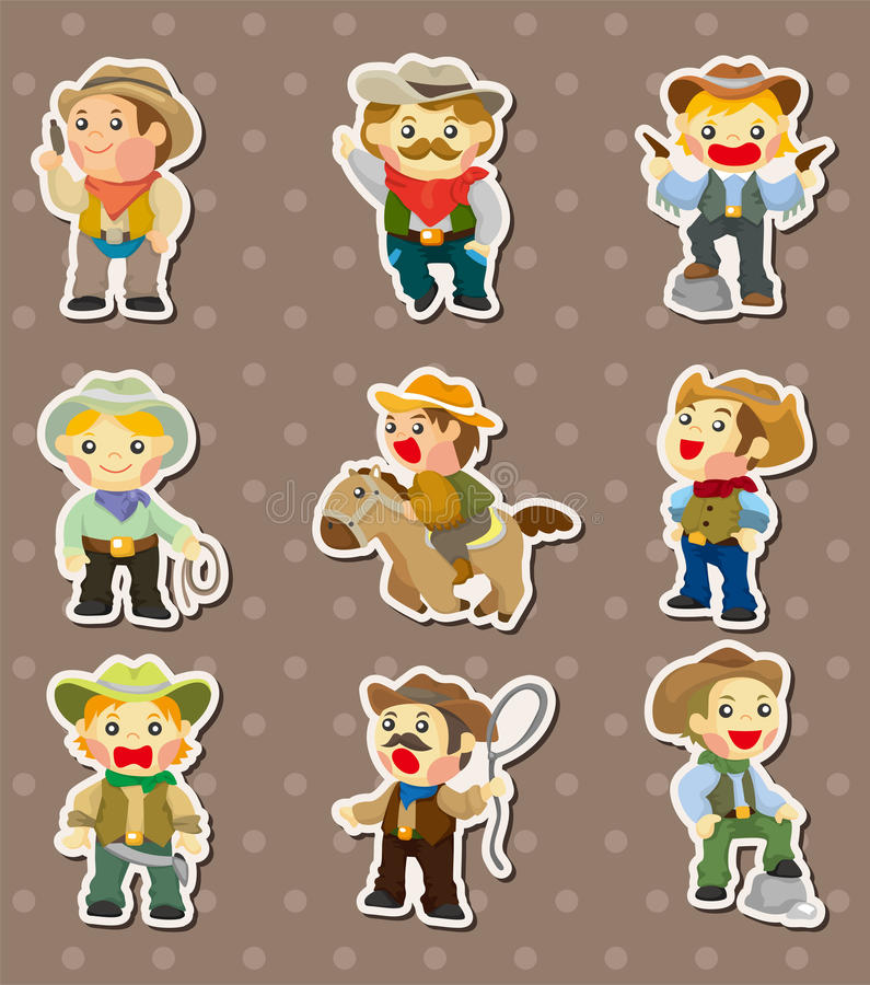 Cowboy stickers royalty free illustration