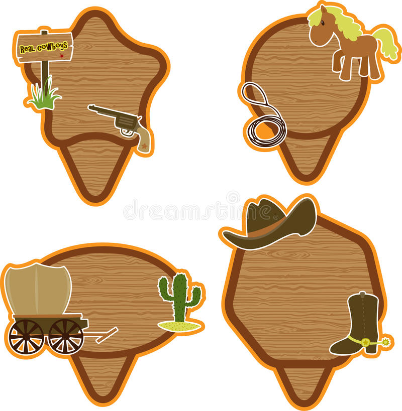 Cowboy stickers set vector illustration