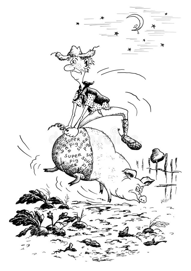 Cowboy sul maiale illustrazione vettoriale