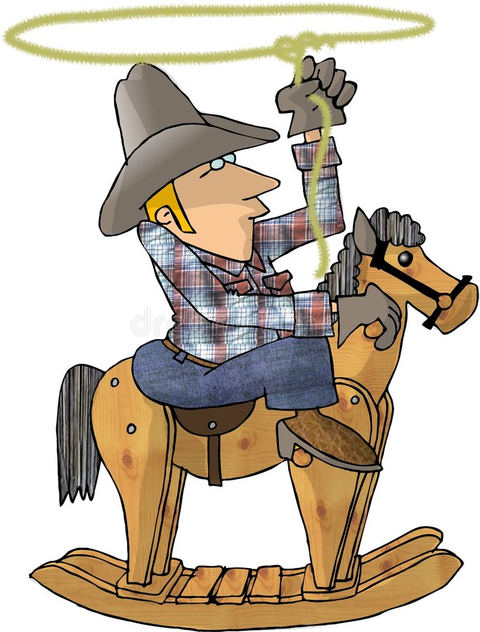 Cowboy sur un cheval d'oscillation illustration de vecteur