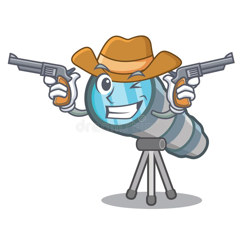 Cowboy telescope isolated with in the mascot. Vector illustration royalty free illustration