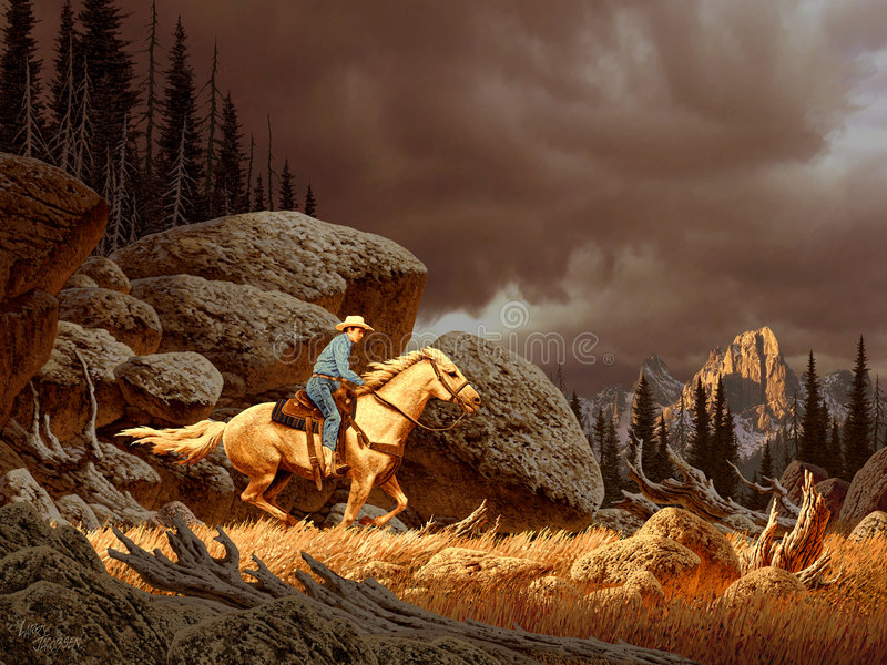 Cowboy in tempesta fotografia stock libera da diritti