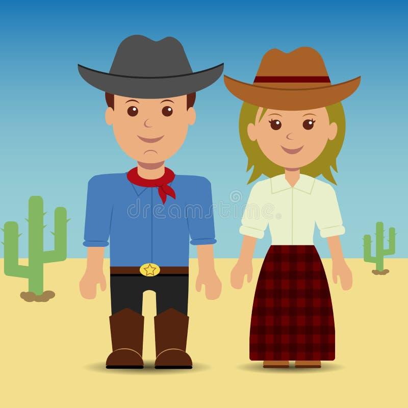 Cowboy und Cowgirl lizenzfreie abbildung