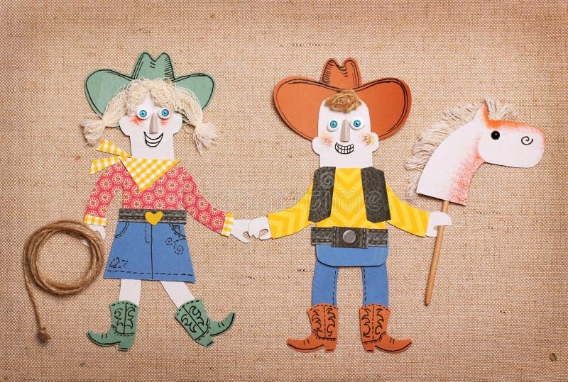 Cowboy und Cowgirl in der Westkleidung lizenzfreie abbildung