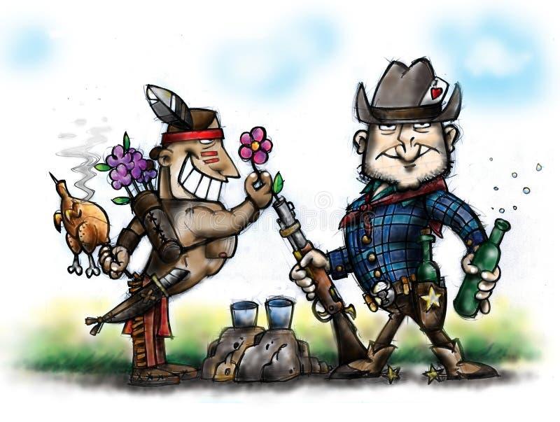 Cowboy und Inder stockfoto