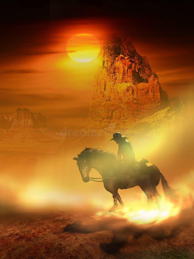 Cowboy und Pferd in der Wüste stock abbildung