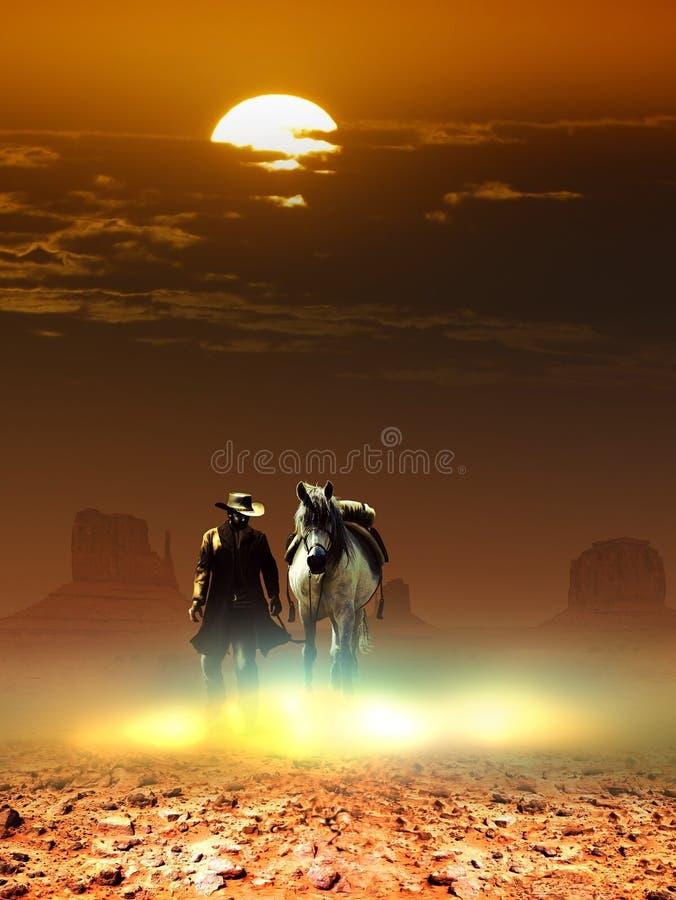Cowboy und Pferd unter der Sonne lizenzfreie abbildung