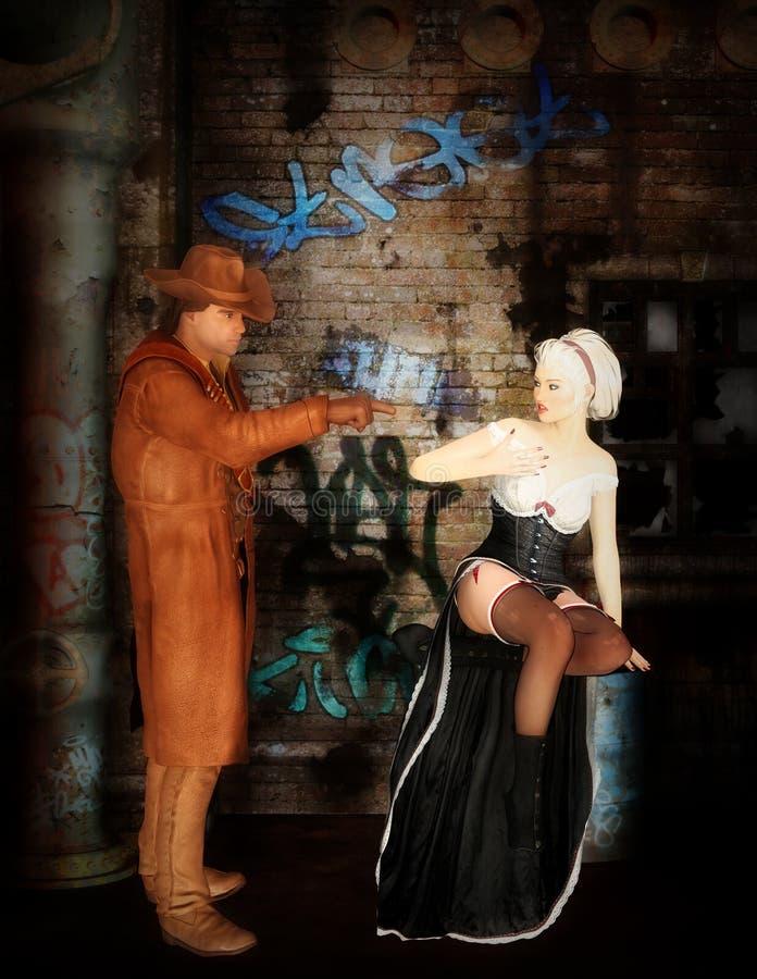 Cowboy und Prostituiertes lizenzfreie stockbilder