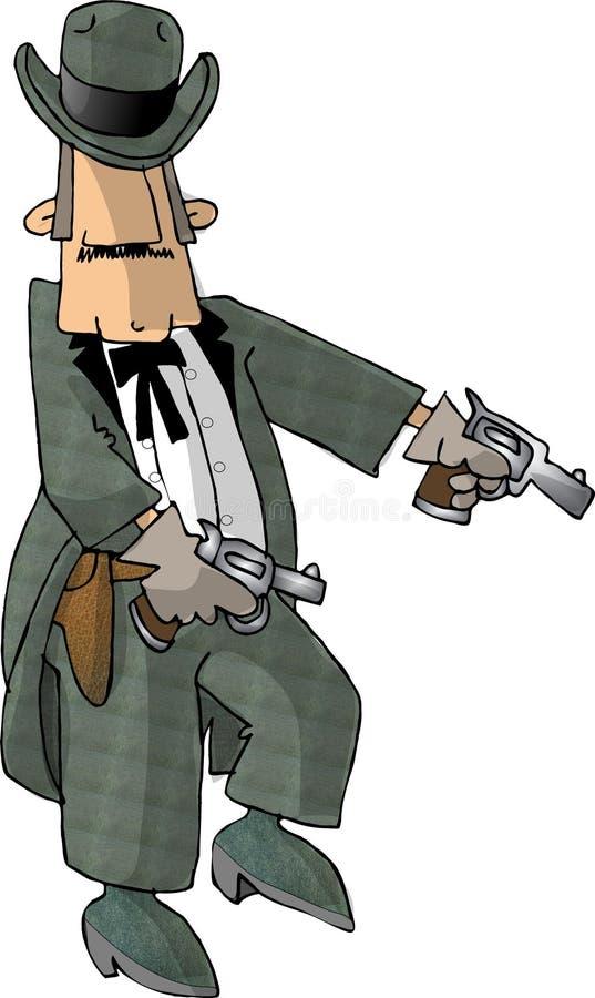Cowboy und seine sechs Gewehren lizenzfreie abbildung