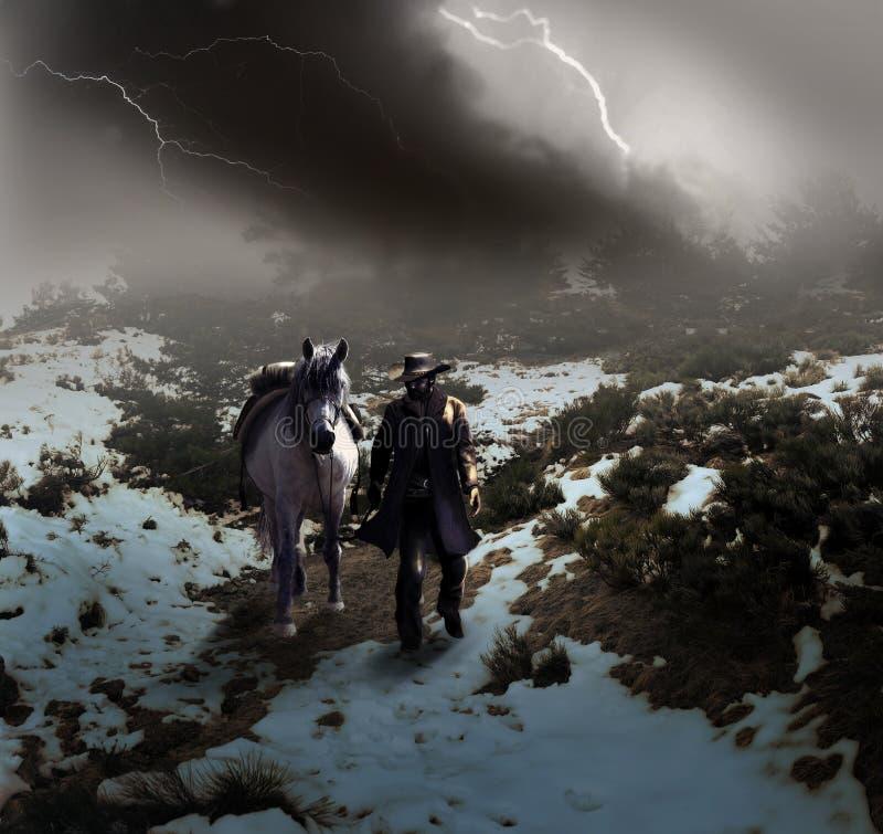 Cowboy unter dem Sturm stock abbildung