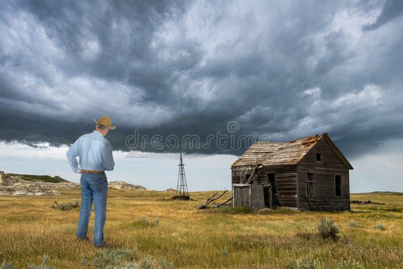 Cowboy, vieille cabine de prairie, ranch photos libres de droits