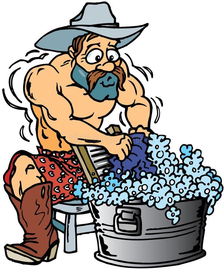Cowboy-waschende Kleidung lizenzfreie abbildung