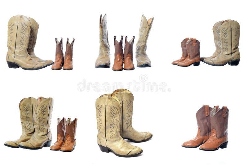 Cowboy westelijke die laarzen op een witte achtergrond worden geïsoleerd royalty-vrije stock foto's
