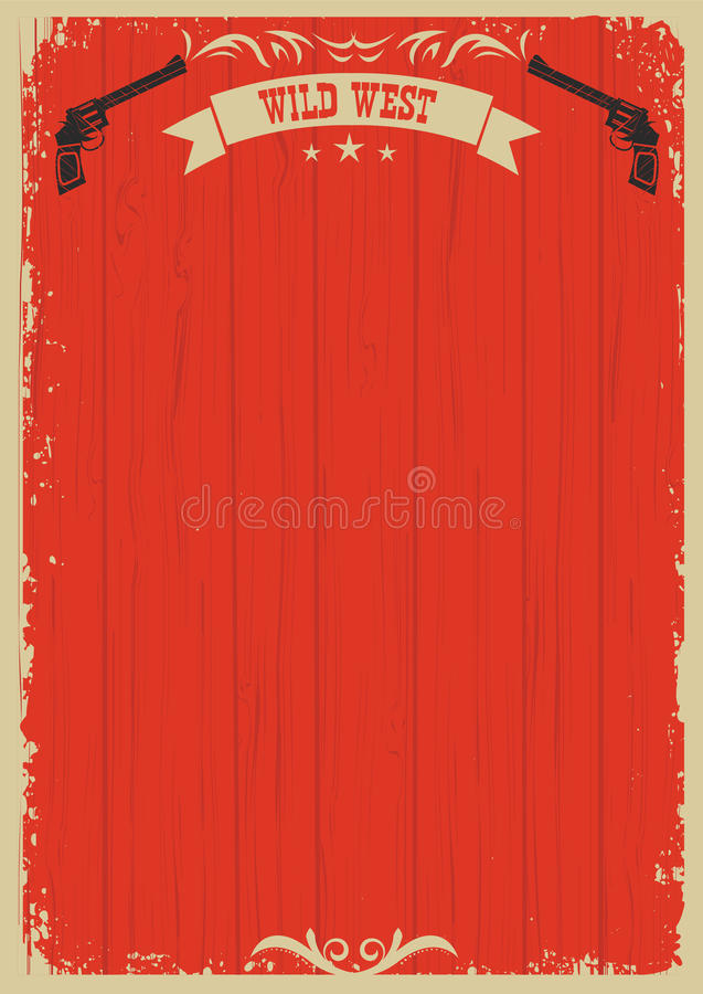 Cowboy western red background with guns for text vector illustration