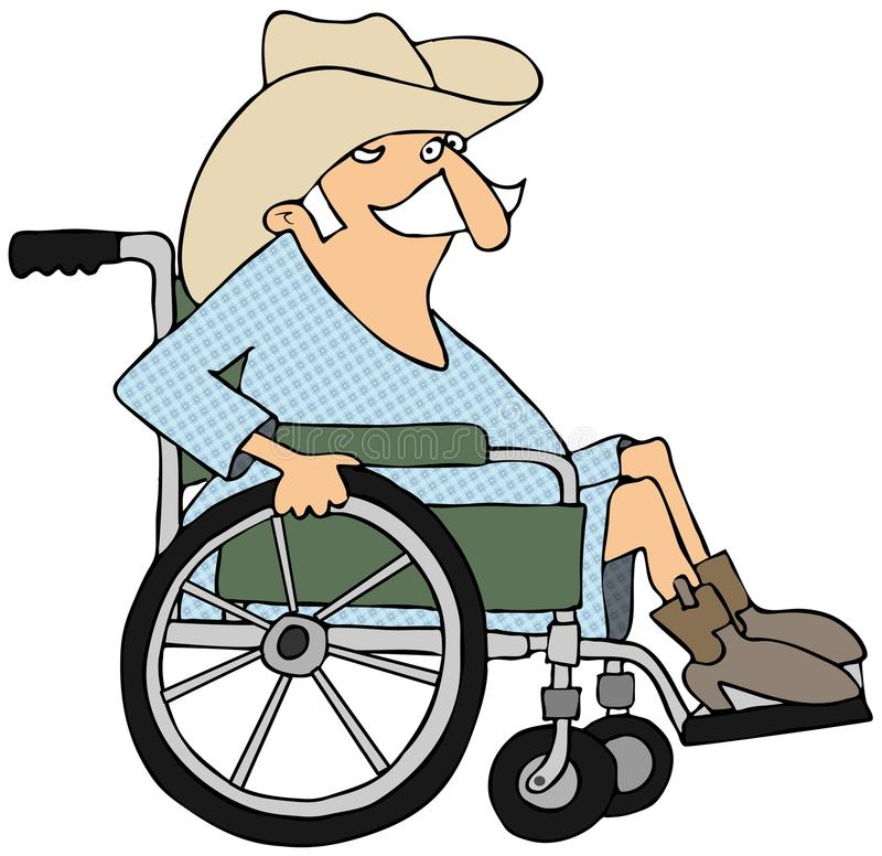 Cowboy In A Wheelchair Stock Illustration