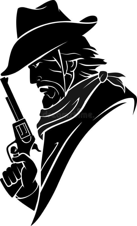 Cowboy zijaanzicht stock illustratie