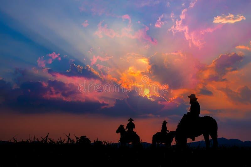Cowboy zu Pferd mit Ansichten der Berge und des Sonnenunterganghimmels lizenzfreies stockfoto