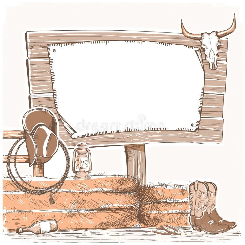 Cowboyachtergrond met houten raad voor tekst Amerikaanse boerderij royalty-vrije illustratie