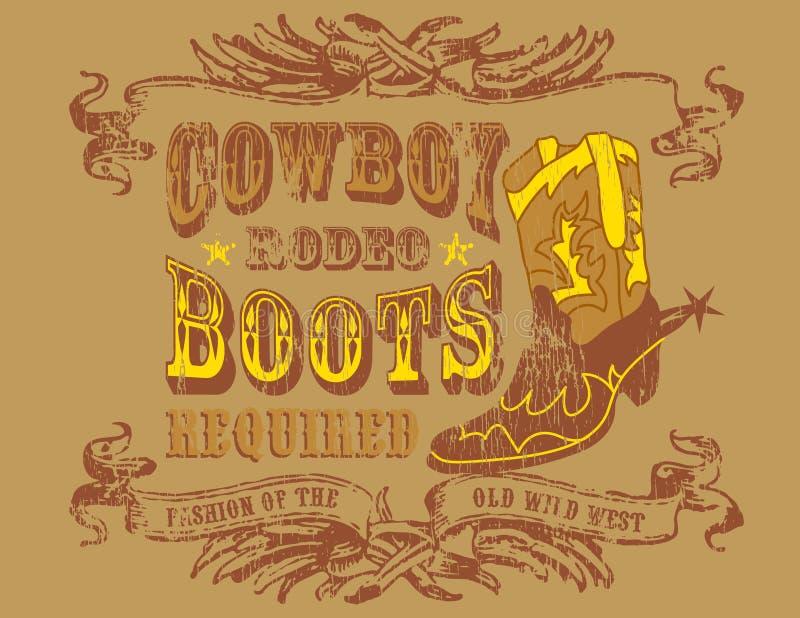cowboydesign royaltyfri illustrationer