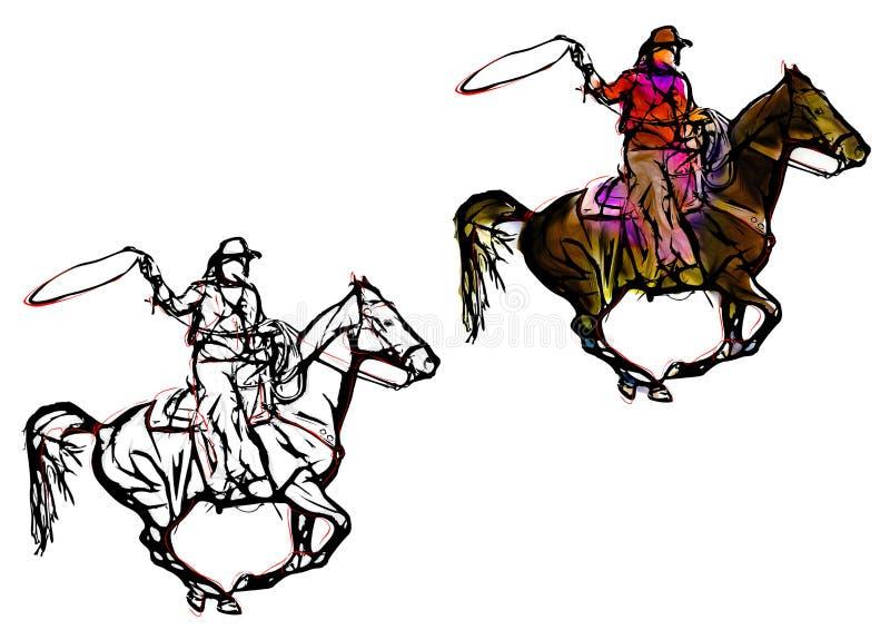 Cowboyfärgillustration royaltyfri illustrationer
