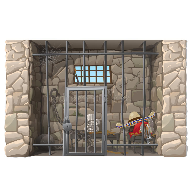 Cowboyfången sover i en fängelsecell stock illustrationer