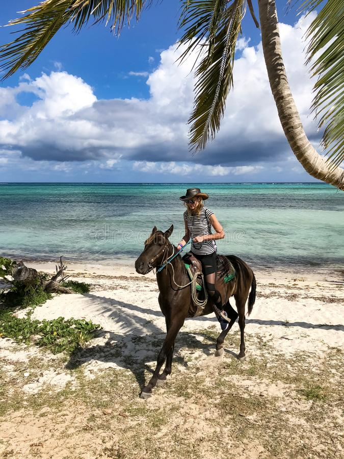 Cowboyflicka på en häst under en palmträd arkivfoton