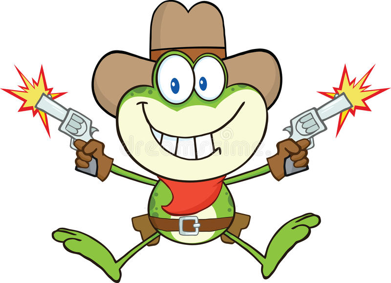 CowboyFrog Cartoon Character skytte med två vapen royaltyfri illustrationer