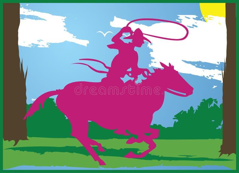 cowboygyckelsun vektor illustrationer