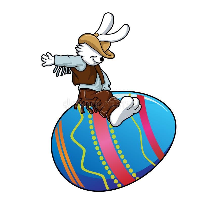 Cowboyhäschen, das ein Osterei reitet lizenzfreie abbildung