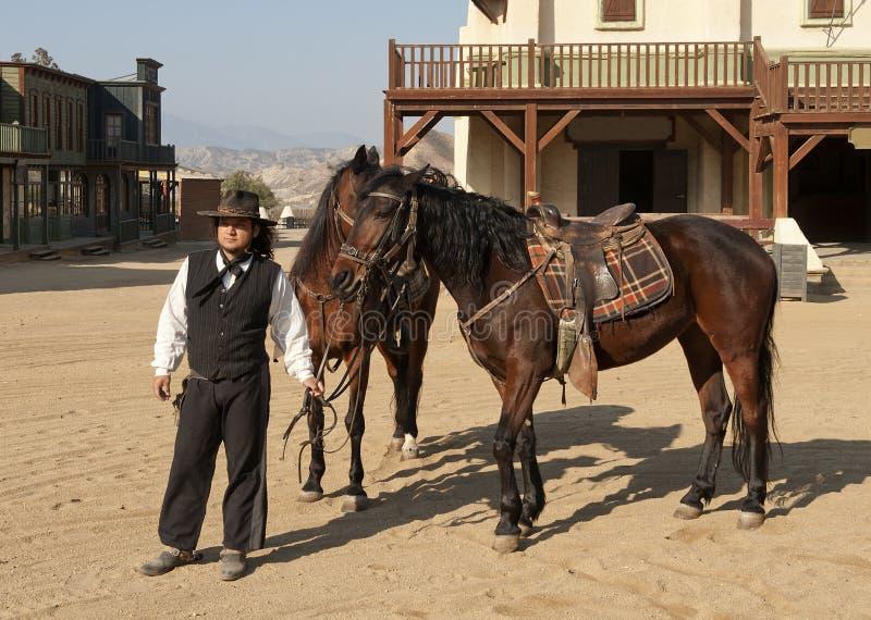cowboyhästsheriff arkivbild