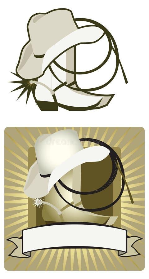 Cowboyhatt och kängor stock illustrationer