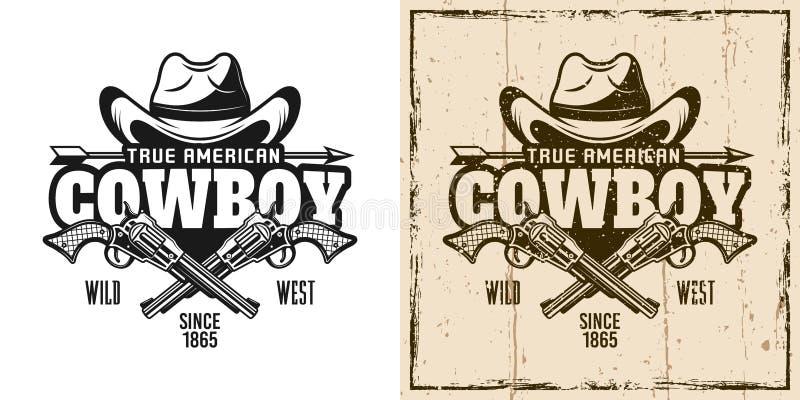 Cowboyhatt och korsat pistolvektoremblem vektor illustrationer