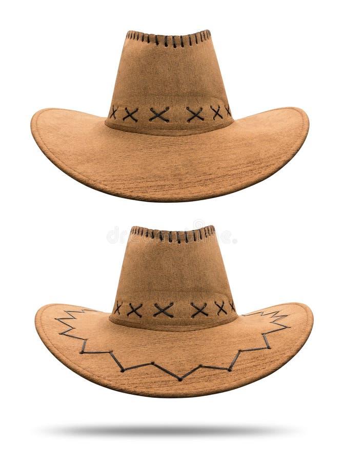 Cowboyhatt som isoleras p? vit bakgrund Tappninghatten som g?ras fr?n, piskar material Snabb bana royaltyfri fotografi