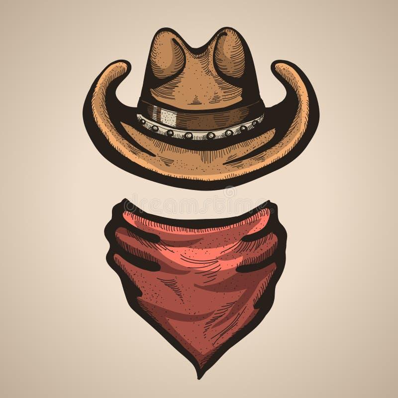 Cowboyhoed en bandana scraf Vector illustratie royalty-vrije illustratie