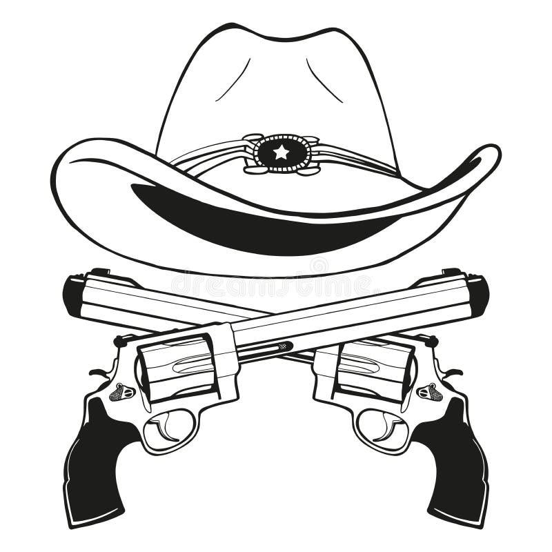 Cowboyhoed met een paar gekruiste kanonnen stock afbeeldingen