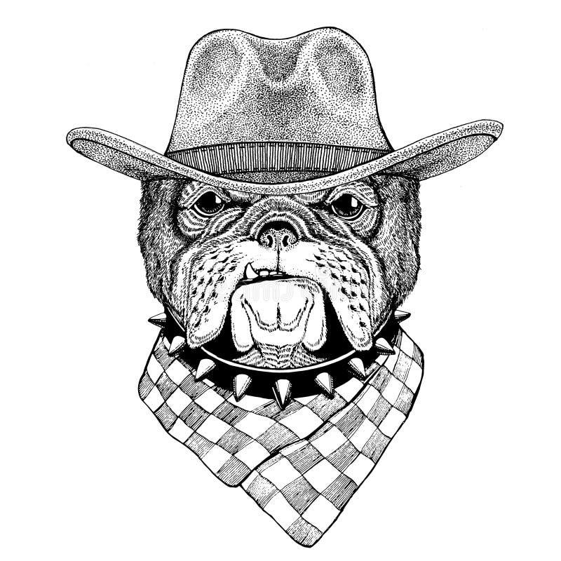 Cowboyhut des wilden Tieres der Bulldogge tragendes wilder Westtiercowboy-Tiert-shirt, Plakat, Fahne, Ausweisdesign lizenzfreie abbildung