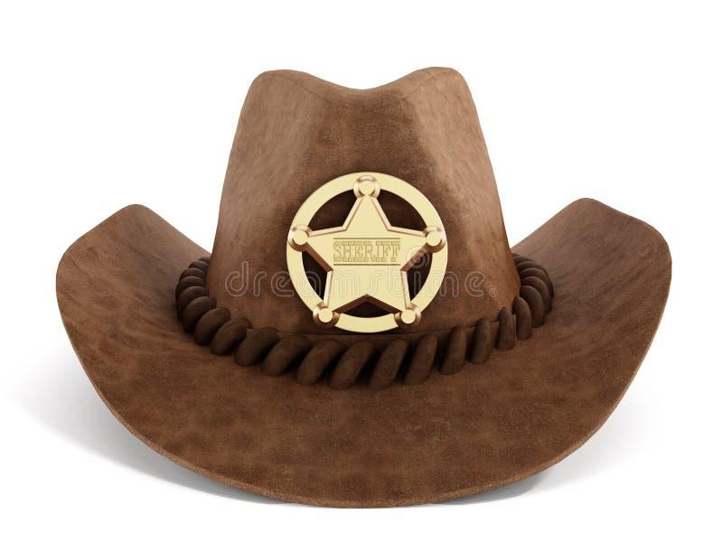 Cowboyhut mit Sheriffausweis stockfotos