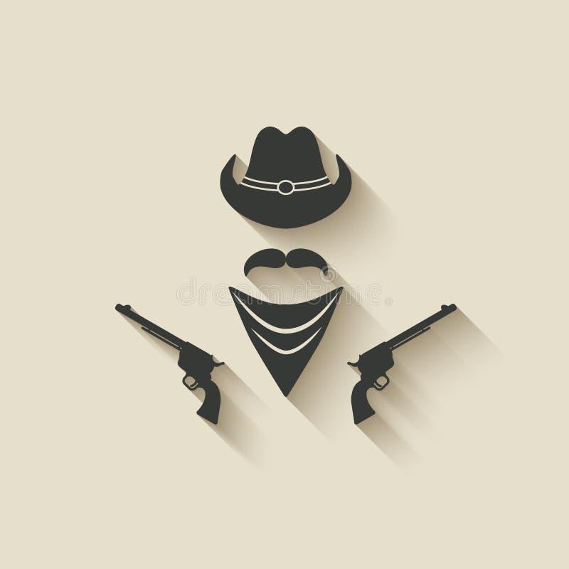 Cowboyhut und Gewehr stock abbildung