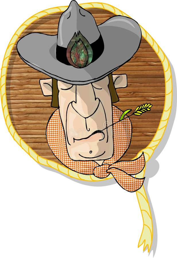 cowboyhuvud stock illustrationer