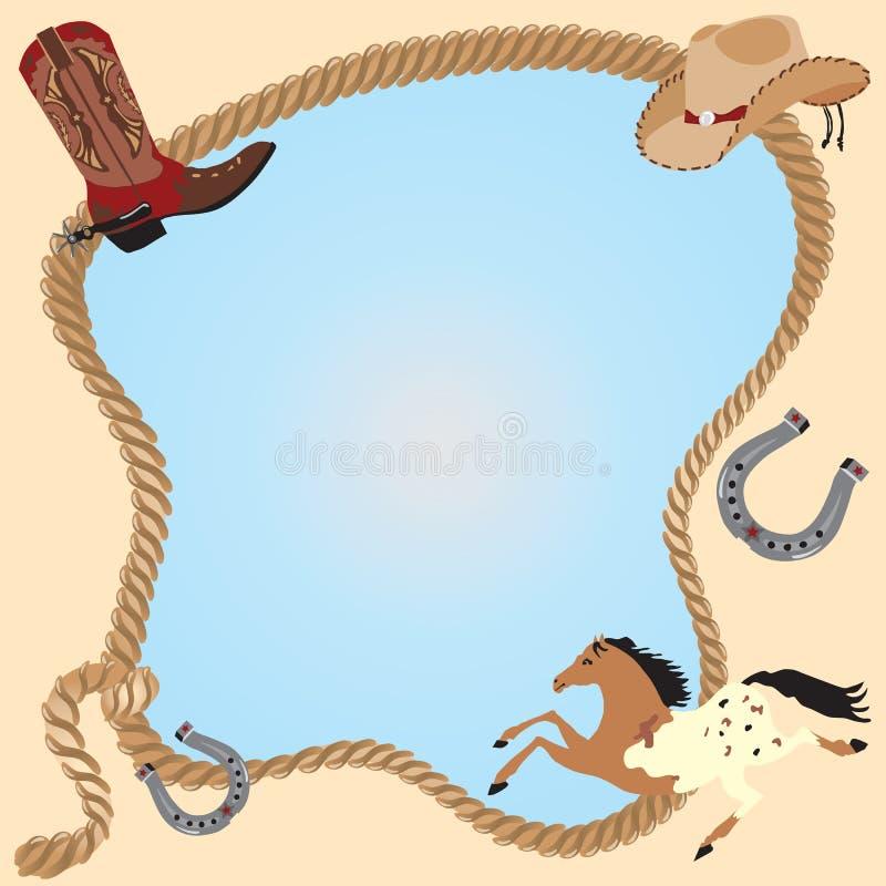 cowboyinbjudanaffisch royaltyfri illustrationer