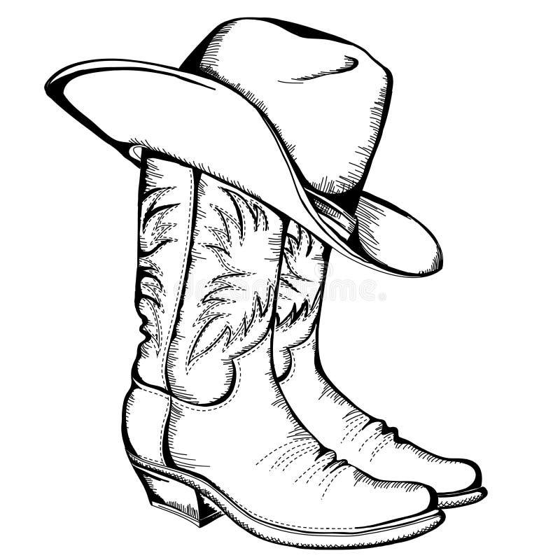 Cowboykängor och hatt. royaltyfri illustrationer