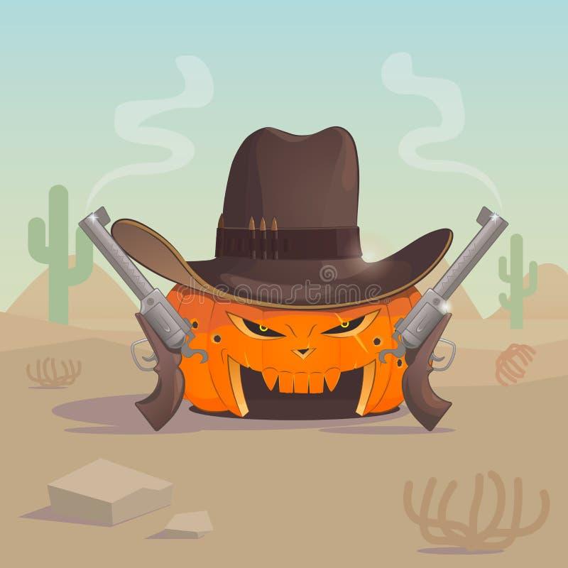 Cowboykürbis hat zwei Gewehre in der heißen Wüste vektor abbildung