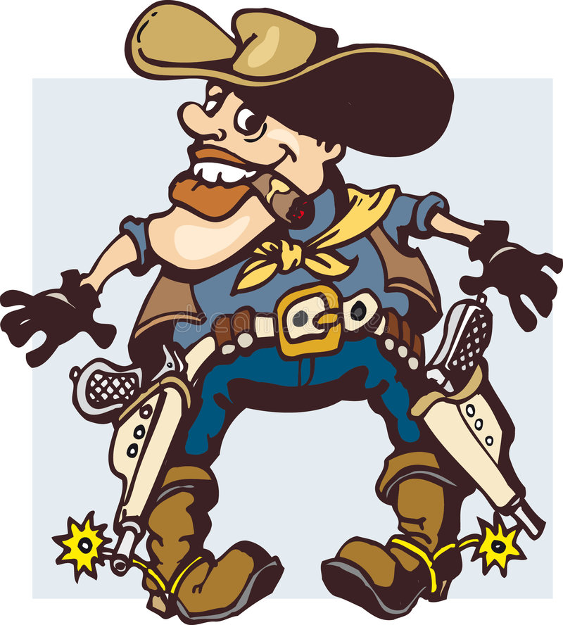 Cowboykarikatur stockbilder