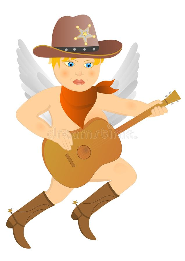 Cowboykupidon stock illustrationer