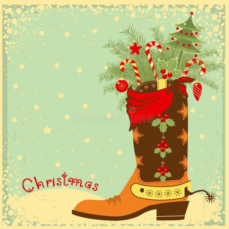 Cowboylaars met Kerstmiselementen stock illustratie